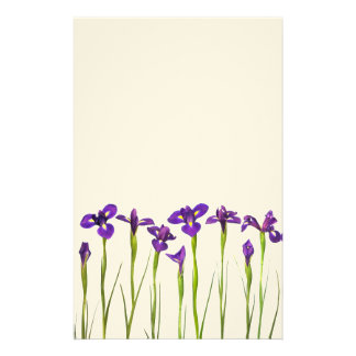 Purple Irises - Iris Flower Customized Template Stationery