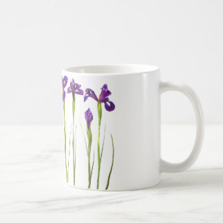 Purple irises isolated on a white background coffee mug