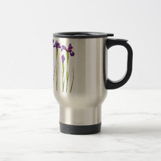 Purple irises isolated on a white background coffee mugs