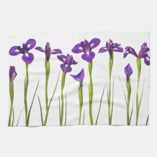 Purple irises isolated on a white background tea towel