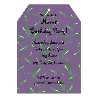 "Purple jalapeno peppers pattern 5"" x 7"" invitation card"