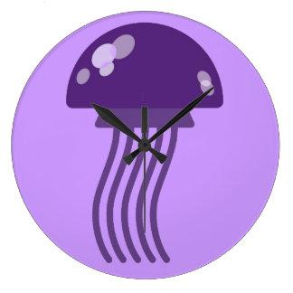 Purple Jellyfish Large Clock