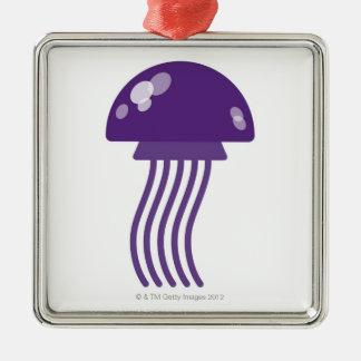 Purple Jellyfish Silver-Colored Square Decoration