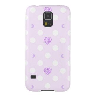 Purple Jewel Heart Moon Pattern Galaxy S5 Covers