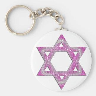 Purple Jeweled Star of David Design Key Chain