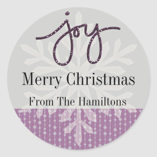 Purple Joy Snowflake Personalised Holiday Sticker