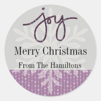 Purple Joy Snowflake Personalized Holiday Sticker