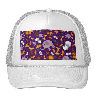 Purple jungle safari animals trucker hat