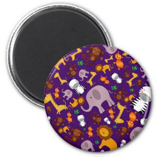 Purple jungle safari animals refrigerator magnet