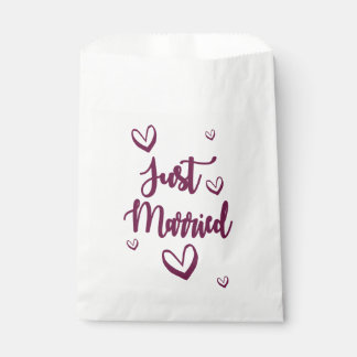 Purple Just Married & Hearts Wedding Announcement Favour Bags