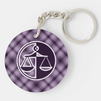 Purple Justice Scales Double-Sided Round Acrylic Keychain