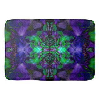 Purple kaleidoscope flower pattern bath mat