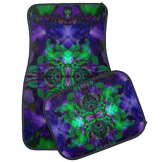 Purple kaleidoscope flower pattern car mat