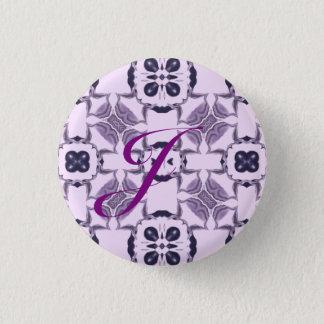 Purple Kaleidoscope Pattern #2 Monogram 3 Cm Round Badge