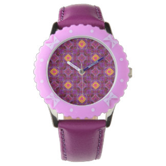 Purple Kaleidoscope Pattern Hippie Art Watch