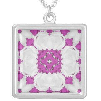 Purple kaleidoscope square pendants