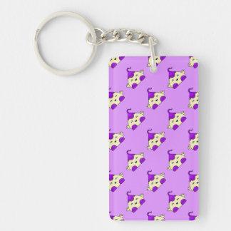 Purple Kawaii Tickle Monster Single-Sided Rectangular Acrylic Key Ring