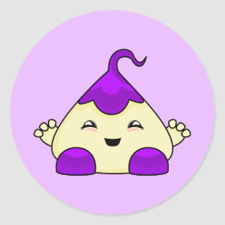 Purple Kawaii Tickle Monster Classic Round Sticker