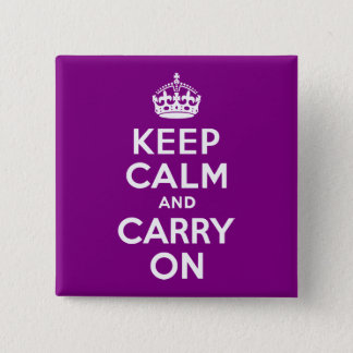 Purple Keep Calm and Carry On 15 Cm Square Badge