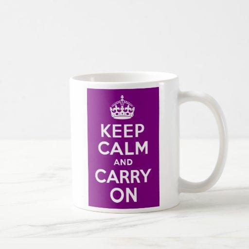 Purple Keep Calm and Carry On Basic White Mug