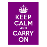 Purple Keep Calm and Carry On Large Business Cards (Pack Of 100)