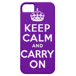 Purple Keep Calm and Carry On Case For The iPhone 5