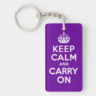 Purple Keep Calm and Carry On Double-Sided Rectangular Acrylic Key Ring