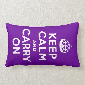 Purple Keep Calm and Carry On Lumbar Cushion