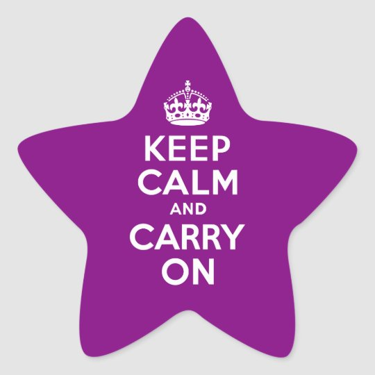 Purple Keep Calm and Carry On Star Sticker