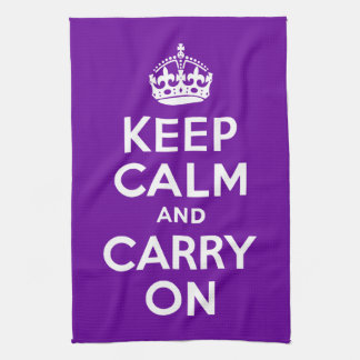 Purple Keep Calm and Carry On Tea Towel