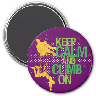 Purple Keep Calm and Climb On Rock Climbing Magnet