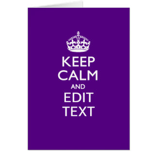 Purple Keep Calm And Have Your Text Easily Card