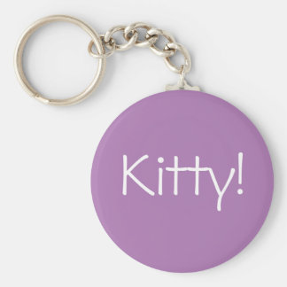 Purple keychain with Kitty! in white letters