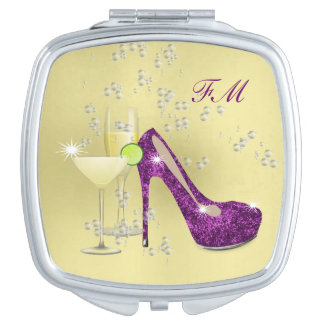 Purple Killer Heels Stiletto Shoe and Cocktails Travel Mirror