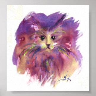 PURPLE KITTEN, KITTY CAT PORTRAIT POSTER