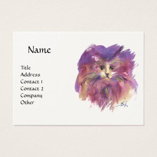 PURPLE KITTEN, KITTY CAT PORTRAIT ,White Cream Business Card