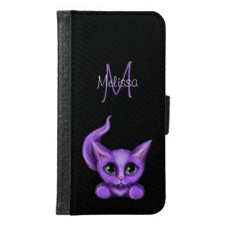 Purple Kitten Monogram Samsung Galaxy S6 Wallet Case