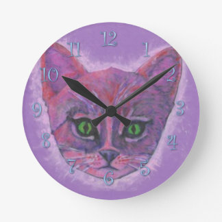 Purple Kitten Round Clock