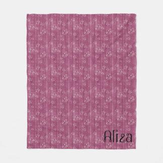 Purple Kittens Monogram Fleece Blanket