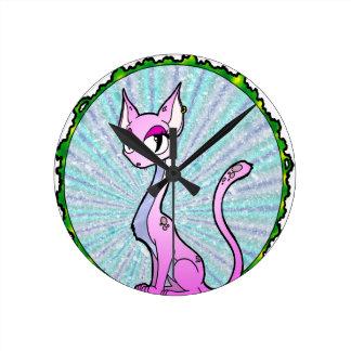 Purple Kitty Clocks