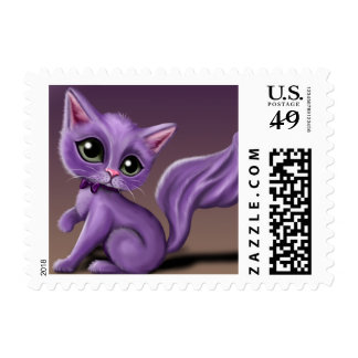 Purple Kitty Postage Stamps
