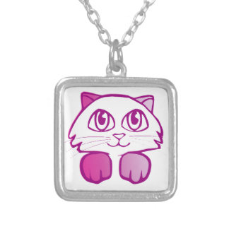 Purple Kitty Square Pendant Necklace