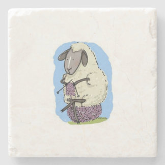 Purple Knitting Sheep Stone Coaster