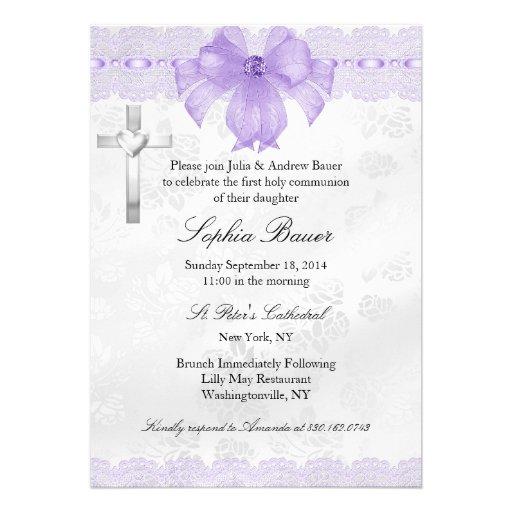 Purple Lace & Bow Baptism/Christening Invite