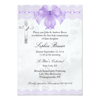 Purple Lace Bow First Holy Communion 13 Cm X 18 Cm Invitation Card