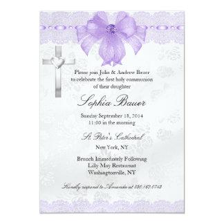 Purple Lace Bow First Holy Communion 13 Cm X 18 Cm Invitation Card