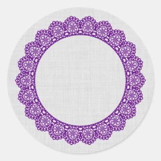 PURPLE Lace Circle Style 4 Silver Background B09 Round Sticker