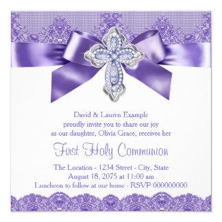 Purple Lace Cross First Holy Communion 13 Cm X 13 Cm Square Invitation Card