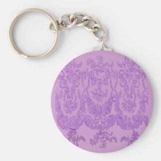 Purple Lace Design T shirts, Mugs, Gifts Basic Round Button Key Ring