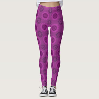 Purple Lace Flower Pattern Leggings